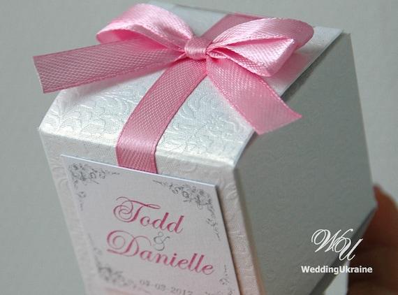 Elegant Wedding Gift Box White Textured Bonbonniere With Etsy