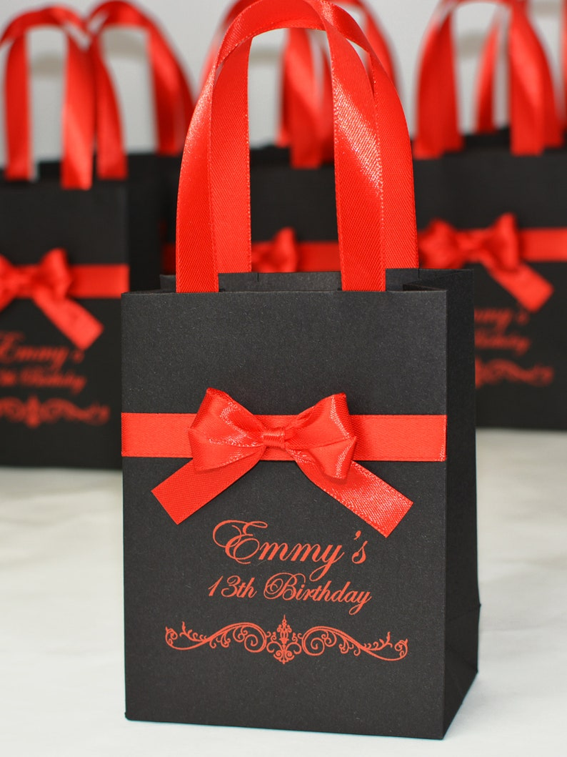 20 Birthday Gift Bags For Favors For Guests Personalized Birthday Party Favor Welcome Bag With Red Satin Ribbon Handles Bow And Your Name