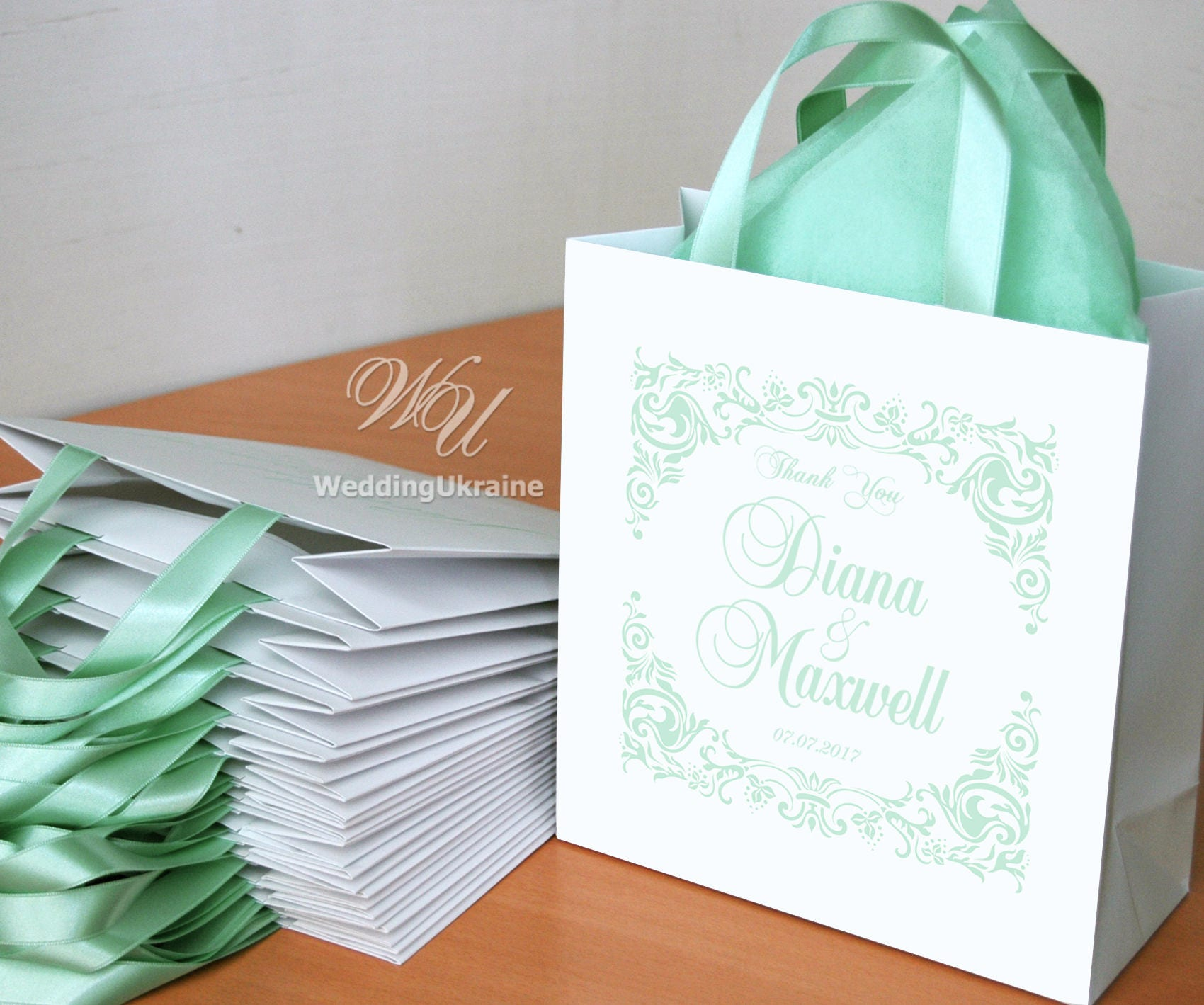 Gift For Wedding Guests Thank You: 20 Thank You Bags For Your Wedding Guests With Light Mint