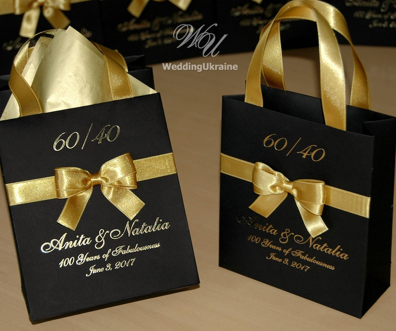 100 Chic Birthday Gift Bags Black Gold Paper Bag With