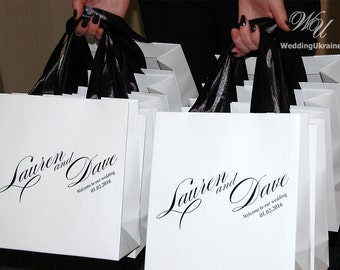 Wedding Welcome Bags with satin ribbon and names - Elegant Personalized Paper Bag - White and Black - Custom Wedding Gift bags