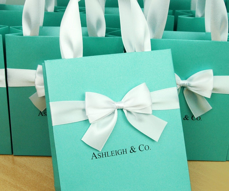 4d14b80482c Bridal Shower gifts. Bridesmaid's mint gift bag with satin | Etsy