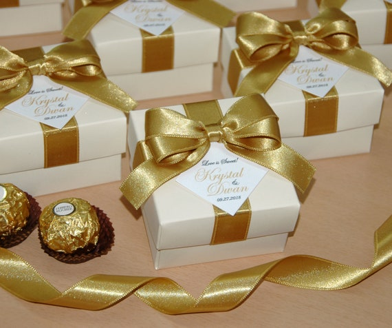 bow and your names Elegant Personalized Ivory and Gold Wedding candy box for guests Love is sweet Wedding favor boxes with satin ribbon