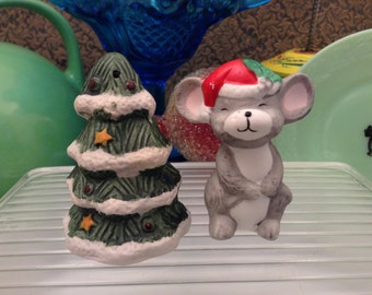 Christmas mouse and tree salt and pepper shakers