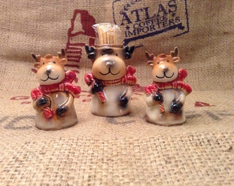 Absolutely Adorable Reindeer Salt Pepper and Tooth Pick Holder