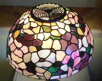 Stained glass lamp shade etsy stained glass vintage lamp shade floral handmade lamp shade greentooth Gallery