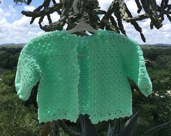 Crocheted Baby Sweater, Handmade  Newborn Sweater, Vintage Baby Sweater