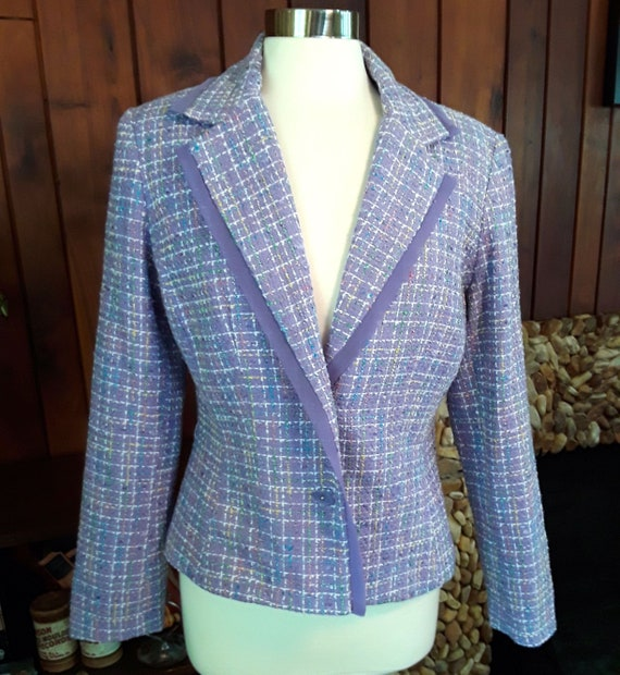 Pastel Purple Blazer/Jacket with Colorful Stitchin