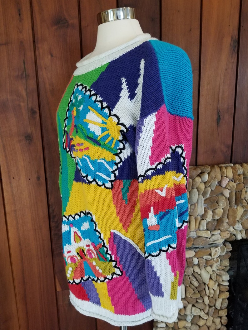 Size S Oversized Rainbow Colored Abstract Postcard Beach Sweater by Debra Lubell