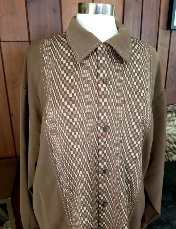 Men's Funky Brown Button Down Shirt with Optical I