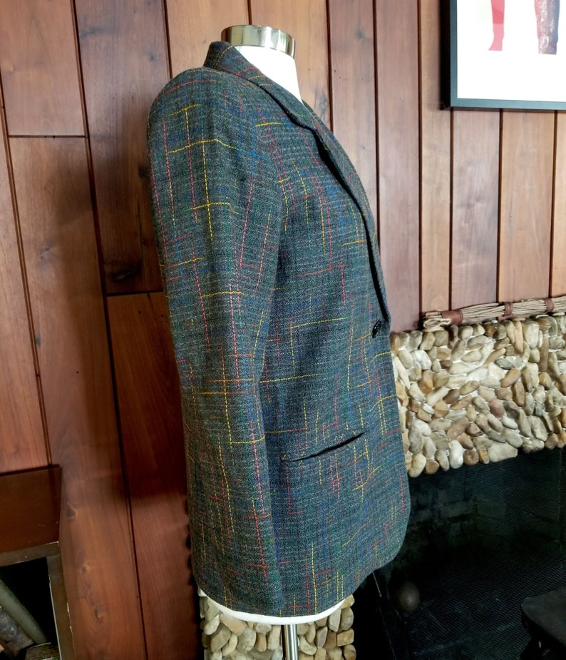Size 4 Dark Grey Tweed Blazer Jacket with Interwoven Rainbow Accents by Sag Harbor Petites