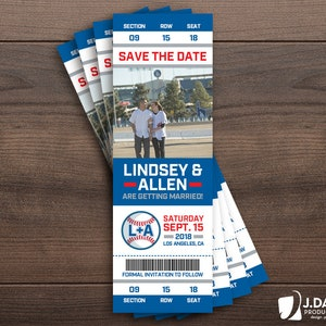 Custom Invitation Party Save the Date Engagement Shower Birthday Announcement Baseball Fan Favorite Sports Ticket Graduation