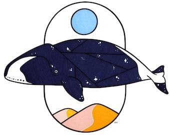 Bowhead Whale Portrait Print - Home Decor - Cute - Ocean Art - Nursery - Friend Gift - House Warming - Baby Shower - Animal Art - Sand Dune