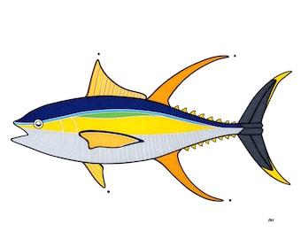 Yellow Fin Tuna Print - Fish Art - Ocean Decor - Animal Art - Nursery - Kid's Room - Fishing Gift - Deep Sea Fishing - Fishing Print