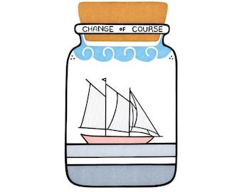 Sailboat Bottle Print - Optimistic Art - Home Decor - Cute - Ocean Art - Nursery - Boats - Moving Gift - Graduation - Life Change  - Support