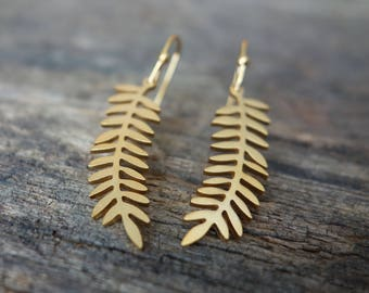 Gold Leave Earrings, Leave Earrings, Dangle Earrings, Gift for her, Simple Earrings, Minimalist, Tropical, Palm Leave, Valentine's Day, gift