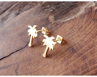 Palm Earrings, Vacation Earrings, Stud Earrings, Beachjewelry, Gold earrings, Silver earrings, earrings