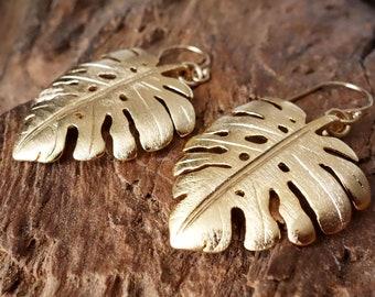 Grosse Monstera Ohrringe gold oder silber