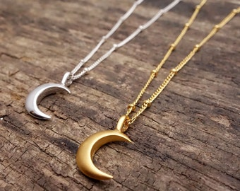Crescent necklace, moon necklace, layering necklace, crescent moon, horn necklace, gift for her, double horn necklace, moon pendant,