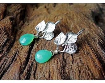 Black Friday Sale, Silver Leaves Earrings,Gemstone Earrings/ Bridesmaid gift/ Gift for her/ Boho Jewelry/ Dangle Earrings/ Gemstones