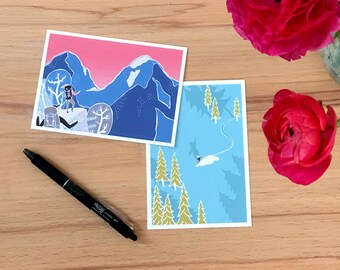 Set of 5 Hand Drawn Mountain Adventure postcards // mountain lovers outdoor enthusiasts snowboarding hiking skiing trekking camping Nature