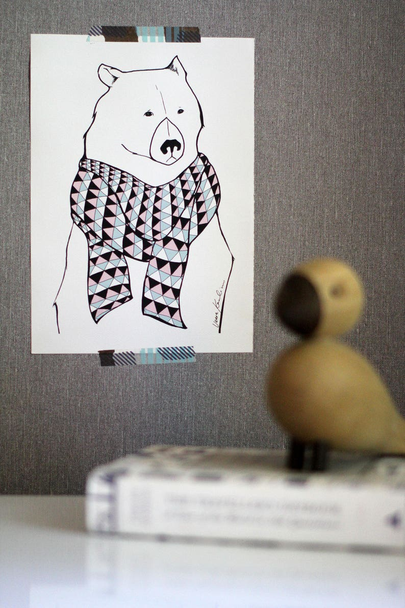 Bear with a Scarf Poster Wall Art Illustration Print // Gift image 0
