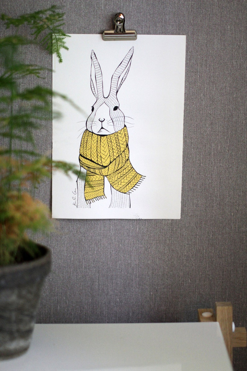 Rabbit with a Scarf Poster Wall Art Illustration Print // Gift image 0