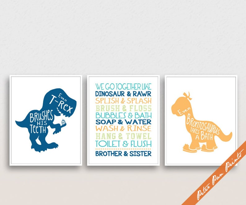 Dinosaur Bath Quotes Series A Set Of 3 Art Prints Etsy