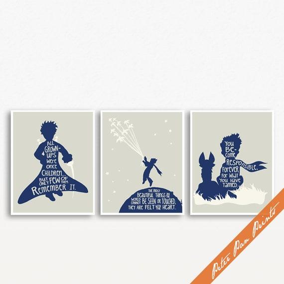 De Kleine Prins Verbeelding Citaten Set Van 3 Unframed Kunst Wordt Afgedrukt Featured In Navy En Zachte Crème Op Bleke Rook