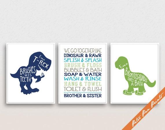 Dinosaur Broer En Zus Bad Quotes Serie B Set Van 3 Kunst Wordt Afgedrukt Unframed Featured Elf Navy Strandlaken En Groen Badkamer Decor