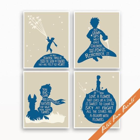 De Kleine Prins Verbeelding Citaten Set Van 4 Unframed Kunst Wordt Afgedrukt Featured Blue Jeans Zachte Crème Op Linnen Outer Space Reizen Poster