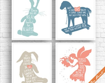 Velveteen Rabbit Quotes - Set of 4 Art Print (Unframed) (Featured in Modern Nursery Color Palette A) Fairy Tale Art Prints