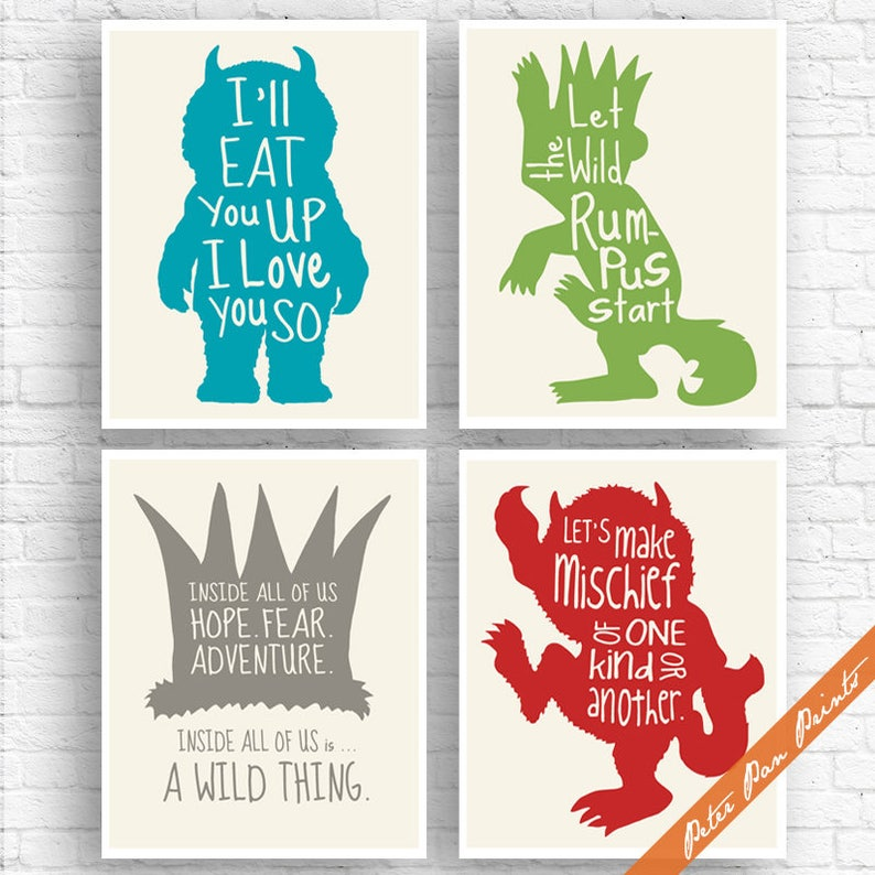 Set of 4 Art Print Unframed Peter Pan Prints Where the Wild Things Are Inspired Quotes Ocean, Green, Gravel, Pepper on Soft Cream