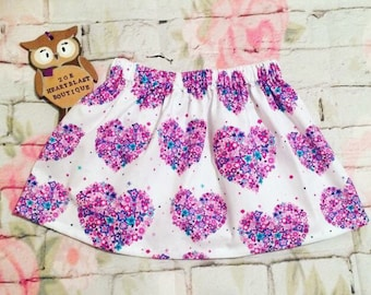 SALE Floral Heart Skirt 3-4 Years Ready To Ship Pink Purple White ~ Peony Flowers Aplenty Butterflies ~ Elasticated Waist Summer Spring Gift
