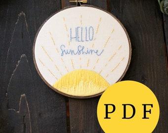 Embroidery Hoop Art Hello Sunshine - PDF Hoop Art Pattern, Baby Shower Gift, Nursery Decor, DIY Needlepoint Design, Gift for Her, Fiber Art