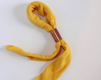 Sunshine Hand Dyed Cotton Neck Scarf, Trendy Fashion Accessory, Gift Under 50, Square Neckerchief, Bandana Neck Tie, Yellow Neck Scarf