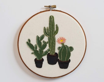 Painted Cacti Trio, Embroidery Hoop Art, Succulent Embroidery, Gift for Plant Lover, Cacti Wall Art, Succulent Needlepoint, House Plant Art