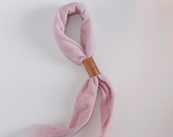 Blush Hand Dyed Cotton Neck Scarf, Fashion Accessory For Her, Gift for Best Friend, Square Neckerchief, Bandana Neck Tie, Blush Neck Scarf