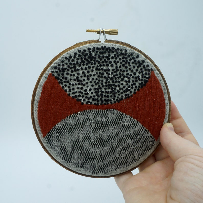 Black and Red Geometrical Hand Embroidery Piece on Linen One image 0