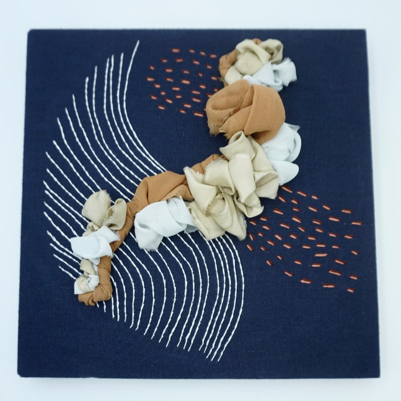 Modern Embroidery on Canvas with Hand Dyed Silk Ribbon One of image 0
