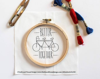 Better Together Modern Embroidery Kit, Bicycle Needlepoint Project, Gift for Newlyweds, Modern Needlework, Cotton Anniversary Gift
