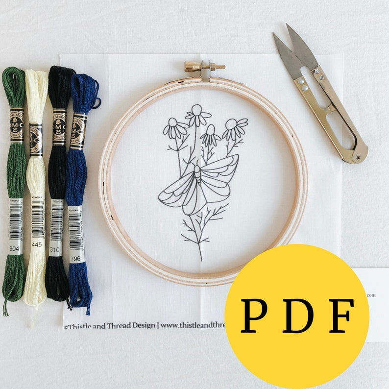 Butterfly Embroidery Pattern Sewing PDF Botanical Embroidery image 0