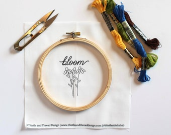 Bloom Modern Embroidery Kit, Floral Needlepoint Project, Gift for Crafty Friend, Modern Needlework, Teacher Gift, Flower Home Decor
