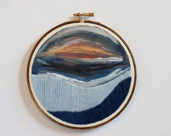 Modern Colorscape Art, Embroidery Hoop Art, Painted Needlepoint, Landscape Art, Sunset Wall Art, Abstract Needlepoint, Modern Stitched Art