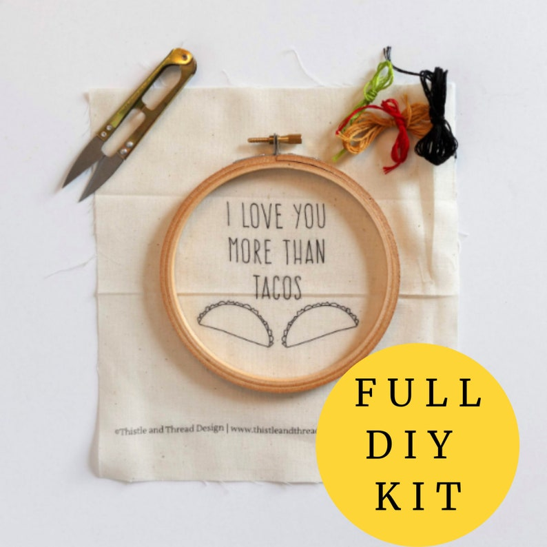 I Love You More Than Tacos Modern Embroidery Kit Needlepoint image 0