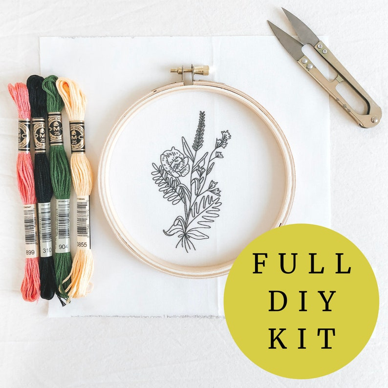 Wildflower DIY Hand Embroidery Kit Floral Bouquet image 0