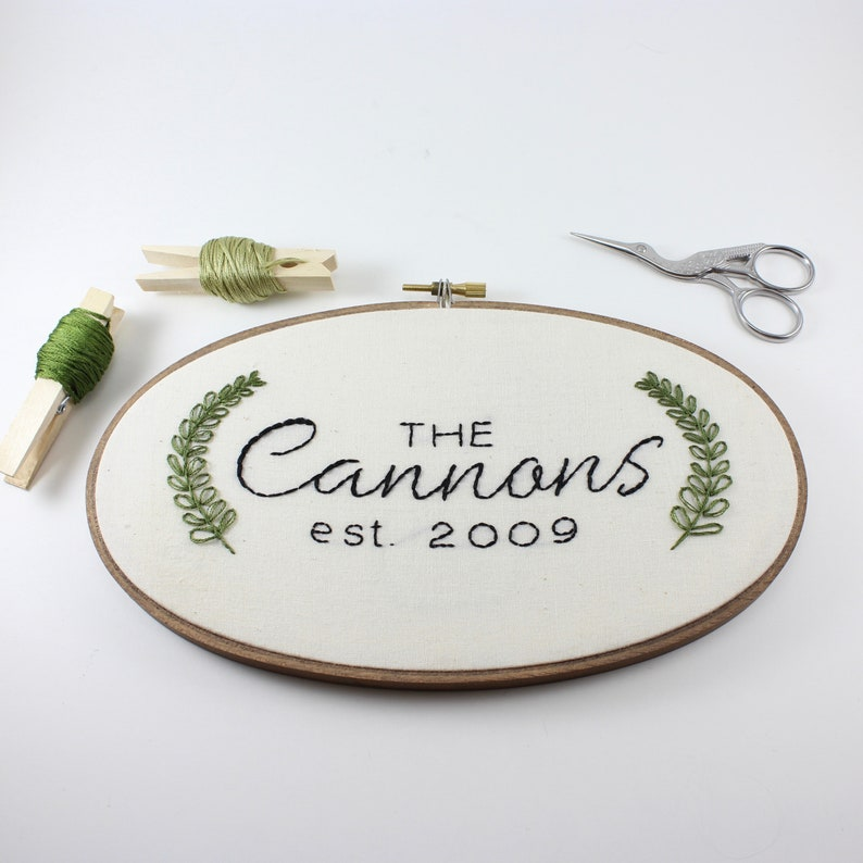 Personalized Embroidery Custom Hoop Art Last Name Wall Art image 0