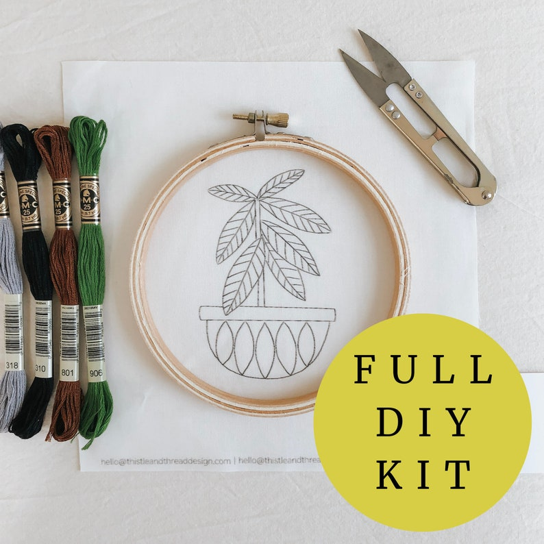 House Plant Hand Embroidery Kit Rubber Tree Broderie Plants image 0