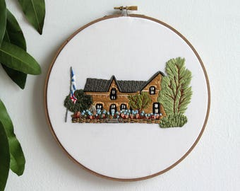 Housewarming Gift, Custom Full Color House Portrait, Hand Embroidery Hoop Art, Gift for Parents, Cotton Anniversary, Unique 2nd Anniversary