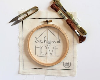 Love Begins at Home Modern Embroidery Kit, family Needlepoint Project, Gift for Mom, Modern Needlework, Simple Embroidery Art, Gift for Her